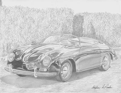 1956 Porsche 356 Speedster Sports Car Art Print Original by Stephen Rooks