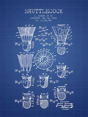 Badminton Digital Art - 1956 Shuttelcock Patent Spbm04_bp by Aged Pixel