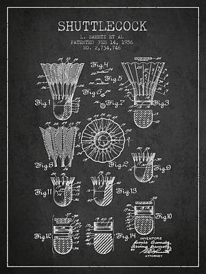 Badminton Digital Art - 1956 Shuttelcock Patent Spbm04_cg by Aged Pixel