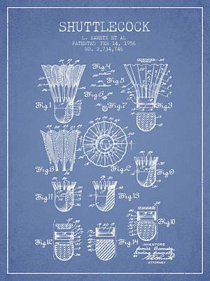 Badminton Digital Art - 1956 Shuttelcock Patent Spbm04_lb by Aged Pixel