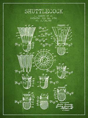 Badminton Digital Art - 1956 Shuttelcock Patent Spbm04_pg by Aged Pixel