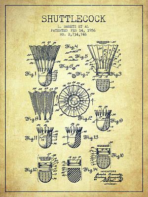 Badminton Digital Art - 1956 Shuttelcock Patent Spbm04_vn by Aged Pixel