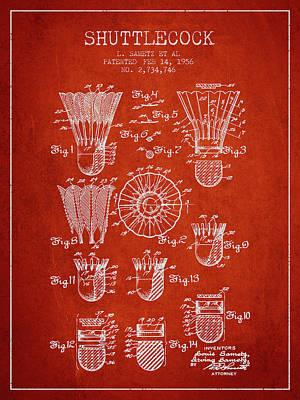 Badminton Digital Art - 1956 Shuttelcock Patent Spbm04_vr by Aged Pixel