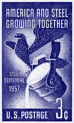 Painting - 1957 American Steel Industry Centennial Stamp by Historic Image