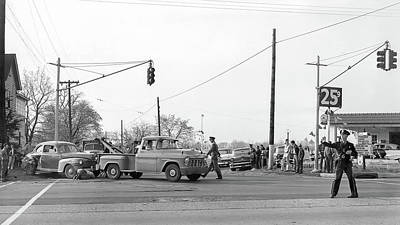 Photograph - 1957 Car Accident by Paul Seymour