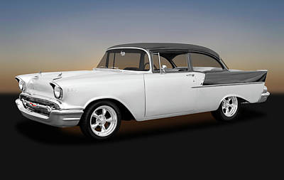 Photograph - 1957 Chevrolet 150 Series Two Door Post Sedan  -  1957chevy1502drpostsed170866 by Frank J Benz