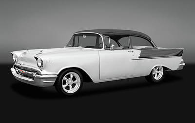 Photograph - 1957 Chevrolet 150 Series Two Door Post Sedan  -  1957chevy1502drsedgry170866 by Frank J Benz
