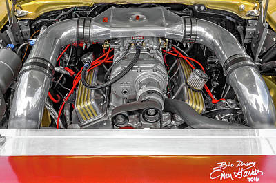 Photograph - 1957 Chevrolet 210 Delray Supercharged Small Block Engine Compartment  -  1957chevy671hpsupercharged by Frank J Benz
