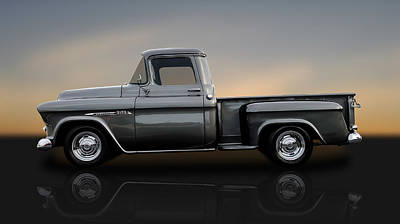 Photograph - 1957 Chevrolet 3100 Series Stepside  -  57chtrkrflt80 by Frank J Benz