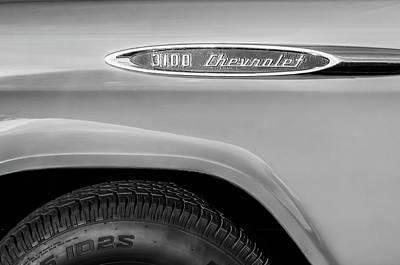 Chevrolet Truck Photograph - 1957 Chevrolet 3100 Truck Emblem -0079bw by Jill Reger