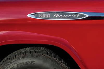 Classic Chevy Truck Photograph - 1957 Chevrolet 3100 Truck Emblem -0079c by Jill Reger