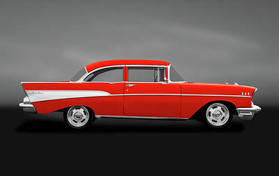 Photograph - 1957 Chevrolet Bel Air  -  19572doorpost1957chevygry184115 by Frank J Benz