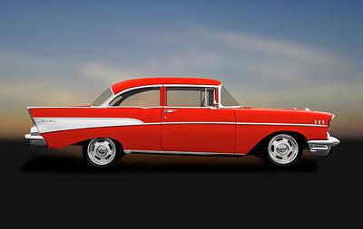 Photograph - 1957 Chevrolet Bel Air   -  1957chevy2doorpostsedan184115 by Frank J Benz