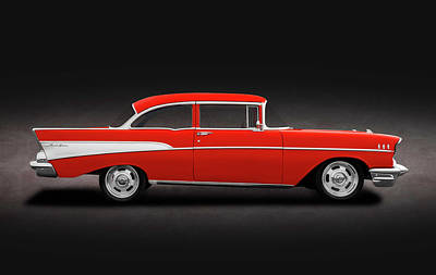 Photograph - 1957 Chevrolet Bel Air 210  -  1957chevybelairpostspottext184115 by Frank J Benz
