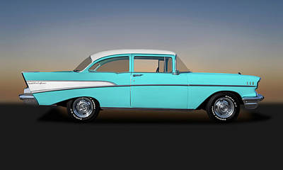 Photograph - 1957 Chevrolet Bel Air 210 Post Sedan  -  1957chevy210post149000 by Frank J Benz