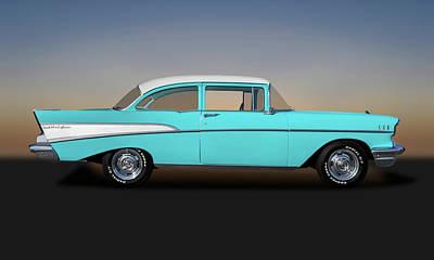 Photograph - 1957 Chevrolet Bel Air 210 Post Sedan  -  1957chevy210post149000 by Frank J Benz