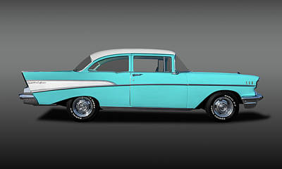 Photograph - 1957 Chevrolet Bel Air 210 Post Sedan  -  57chev210postfa149000 by Frank J Benz