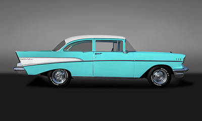 Photograph - 1957 Chevrolet Bel Air 210 Post Sedan  -  57chevy210postgry149000 by Frank J Benz