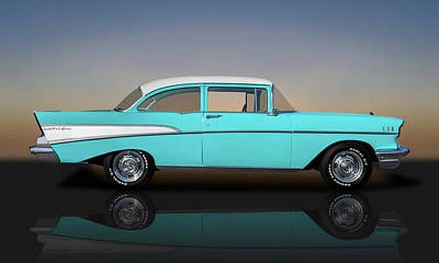 Photograph - 1957 Chevrolet Bel Air 210 Post Sedan  -  57chevy210postreflect149000 by Frank J Benz