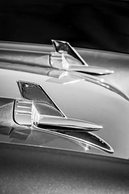 Photograph - 1957 Chevrolet Bel Air Hood Ornaments -114bw by Jill Reger