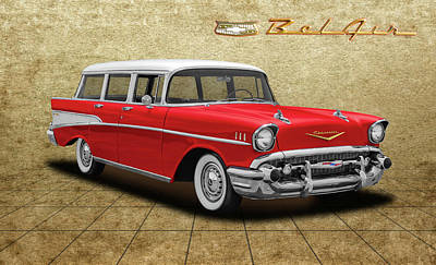 Photograph - 1957 Chevrolet Bel Air Townsman - 57chevybelairtownsmantileflr153742 by Frank J Benz