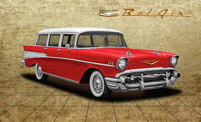 Photograph - 1957 Chevrolet Bel Air Townsman - 57chevybelairtownsmantileflr153742 by Frank J Benz