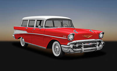 Photograph - 1957 Chevrolet Bel Air Townsman Station Wagon  -  1957chevybelairtownsman153742 by Frank J Benz
