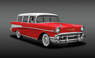 Photograph - 1957 Chevrolet Bel Air Townsman Wagon  -  1957chevroletbelairtownsmanfa153742 by Frank J Benz