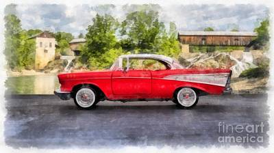Covered Bridge Painting - 1957 Chevrolet Bel Air Watercolor by Edward Fielding