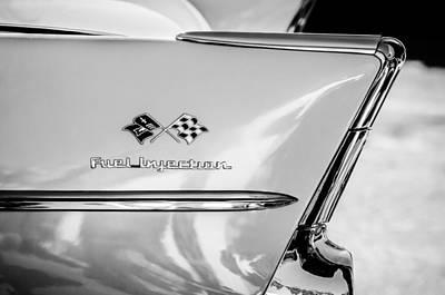 Chevy Bel Air Photograph - 1957 Chevrolet Belair Fuel Injection Emblem -157bw1 by Jill Reger