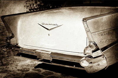 Photograph - 1957 Chevrolet Belair Tail Emblem -068s by Jill Reger