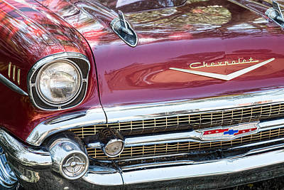 Photograph - 1957 Chevrolet Burgundy Bel Air Front Chrome by James BO Insogna