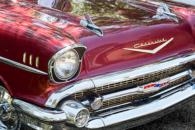 Photograph - 1957 Chevrolet Burgundy Bel Air Front View by James BO Insogna