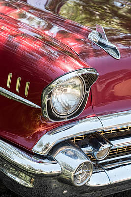 Photograph - 1957 Chevrolet Burgundy Bel Air Headlight Portrait by James BO  Insogna