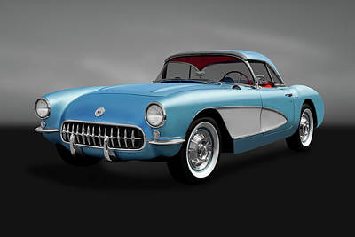 Photograph - 1957 Chevrolet C1 Corvette  -  1957c1corvettehdtpconvertgry184052 by Frank J Benz