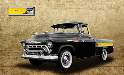 1957 Chevrolet Cameo Truck - V3 Art Print by Frank J Benz