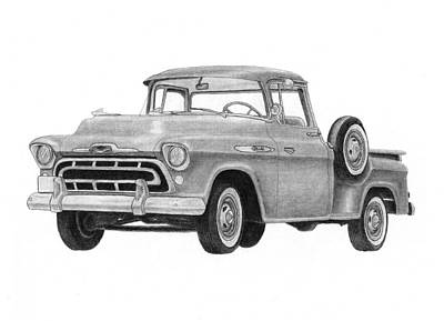 Chevrolet Truck Drawing - 1957 Chevrolet Pick Up  by Claude Prud' homme