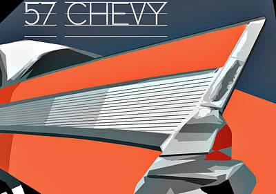 Digital Art - 1957 Chevy Art Design By John Foster Dyess by John Dyess