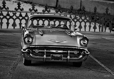 Photograph - 1957 Chevy At The Gate Bw by Lesa Fine