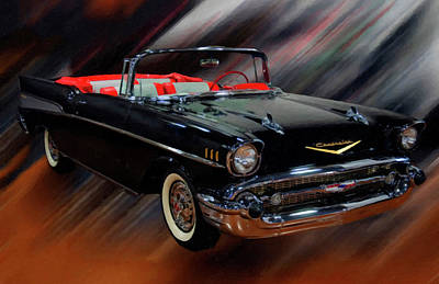 1957 Chevy Bel Air Convertible Digital Oil Art Print