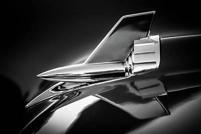 Tri Wall Art - Photograph - 1957 Chevy Bel Air Hood Rocket - Monochrome by Jon Woodhams