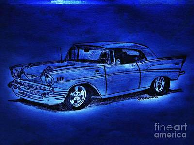1957 Chevy Bel Air - Moonlight Cruisin  Art Print