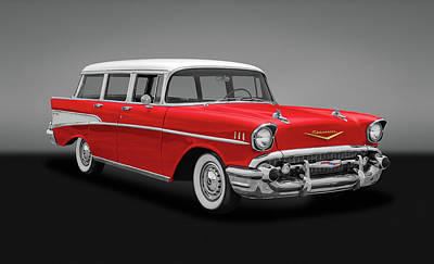 Photograph - 1957 Chevy Bel Air Townsman Wagon  -  57chevybelairtownsmanwagongry153742 by Frank J Benz