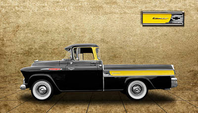 1957 Chevy Cameo Pickup - V3 Art Print by Frank J Benz
