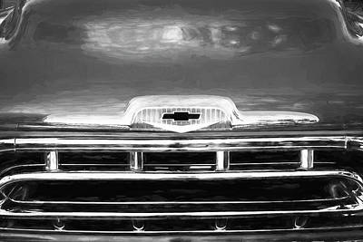 Photograph - 1957 Chevy Pick Up Truck 3100 Series Bw 004 by Rich Franco