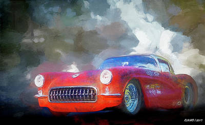 Digital Art - 1957 Corvette Hot Rod by Ken Morris