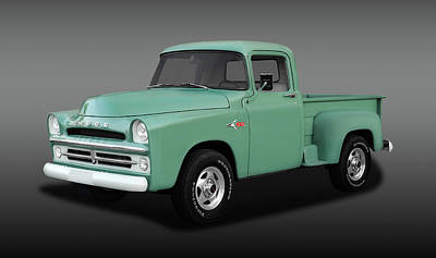 Photograph - 1957 Dodge And 1993 Chevy Z71 Blended Pickup Truck  -  1957dgez71fa0157 by Frank J Benz