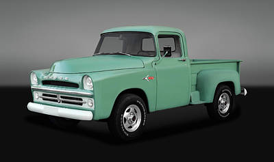 Photograph - 1957 Dodge And 1993 Chevy Z71 Blended Pickup Truck  -  57dodge93z71gry0157 by Frank J Benz
