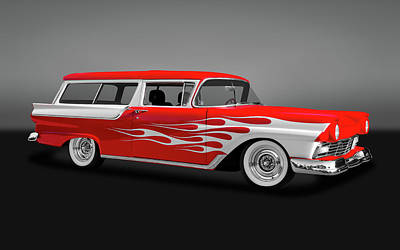 Photograph - 1957 Ford 2 Door Ranch Wagon  -  1957fdrchwaggry0064 by Frank J Benz