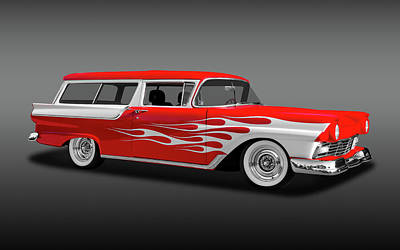 Photograph - 1957 Ford 2 Door Ranch Wagon  -  1957fordranchwagfa0064 by Frank J Benz